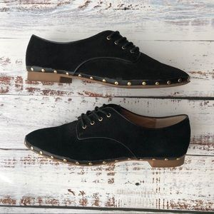 Dolce Vita Black Suede Shoes with Gold Stud Detail